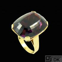 Boy Johansen. 14k Gold Ring with large Faceted Amethyst