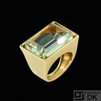 14k Gold Ring with Aquamarine. Denmark - 1960s