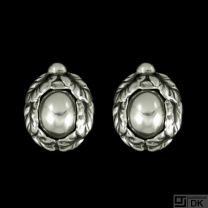 Georg Jensen. Sterling Silver Ear Clips with Silverstone - Heritage 1997.