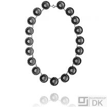 Georg Jensen Silver Necklace DAISY with Black Enamel - 18 mm