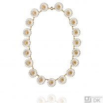 Georg Jensen Gilded Silver Necklace DAISY with White Enamel - 18 mm