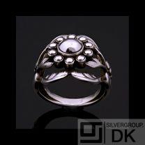 Georg Jensen Silver Ring w/ Silver Ball - Moonlight Blossom #10