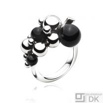 Georg Jensen Silver Ring # 551 A - MOONLIGHT GRAPES with Black Agate