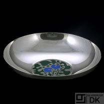 Georg Jensen. Sterling  Silver Jubilee Bowl #1265 - Green and Blue Enamel - Henning Koppel