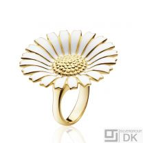 Georg Jensen Gilded Silver Ring w/ White Enamel - Daisy 33 mm./ 1,3""