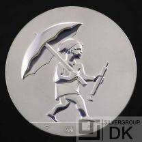 "Georg Jensen Silver Medal Coin - H.C. Andersen ""Ole Lukøje"" (Mr. Sandman) - Arno Malinowski"