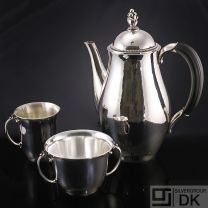 Georg Jensen Silver Coffee Pot w/ Creamer and Sugar Bowl #456 - Harald Nielsen