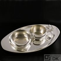 Georg Jensen Silver Tray w/ Sugar Bowl & Creamer  - #1017B and #1051 - VINTAGE