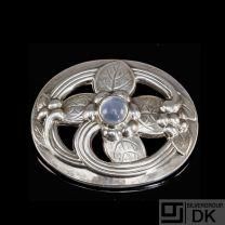 Georg Jensen Silver Brooch w/ Moonstone - #138 - VINTAGE