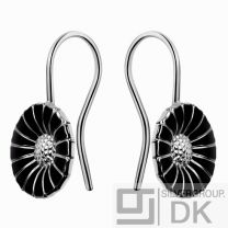 Georg Jensen Silver Earhooks DAISY - Black 11 mm