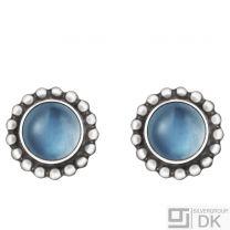Georg Jensen Silver Earrings # 9 - MOONLIGHT BLOSSOM - with Moonstone
