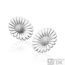 Georg Jensen Rhodinated Silver Ear Clips DAISY with White Enamel - 33 mm