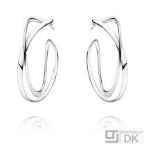 Georg Jensen Silver Ear Hoops # 452 - INFINITY - Large