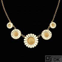 Bernhard Hertz. Gilded Silver Daisy Necklace with white enamel. 43mm.