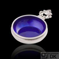 Georg Jensen Silver Salt Cellar w/ Blue Enamel - Acorn/ Konge - NEW