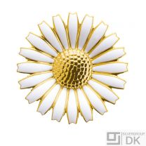 Georg Jensen Gilded Silver Daisy Brooch w/ White Enamel - 43 mm