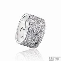 Georg Jensen 3-piece Fusion Ring - 18 kt. White Gold with Pavé Diamonds.