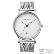 Georg Jensen 38mm Watch w/ White Dial & Steel Bracelet - Henning Koppel