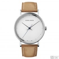 Georg Jensen 38mm Watch White / Tan - Henning Koppel - K38-ST51