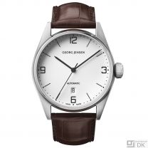 Georg Jensen 42mm Automatic Watch. White dial /Alligator strap - Delta Classic - S42-ST70