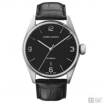 Georg Jensen 42mm Automatic Watch. Black dial /Alligator strap - Delta Classic
