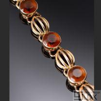 Danish Gold Bracelet w/ Citrines - Evald Nielsen - VINTAGE