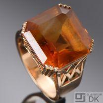 Danish Art Deco Gold Ring w/ Citrine - Evald Nielsen - VINTAGE