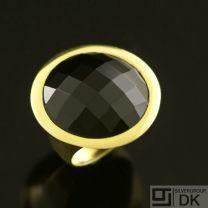 Danish Gilded Silver Ring w/ Onyx - Lund Copenhagen
