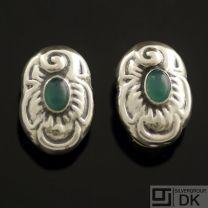 Danish Silver Ear Clips w/ Green Agate - VINTAGE