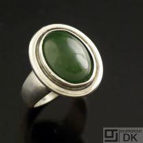 Danish Silver Ring w/ Nephrite #93 - Hans Hansen - VINTAGE