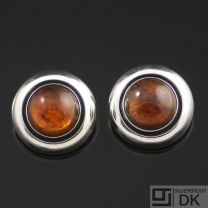 Danish Vintage Silver Ear Clips w/ Amber - N. E. From