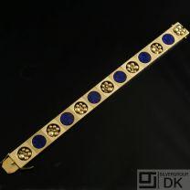 Danish Gold Bracelet w/ Lapis Lazuli - Ove Fogh Pedersen - VINTAGE