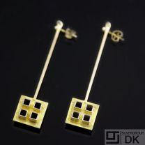 Danish Fire-gilded Silver Earrings - Bent Exner - VINTAGE