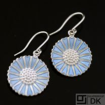 Danish Silver Daisy Earrings w/ Blue Enamel, Hook - Hertz/ Lund