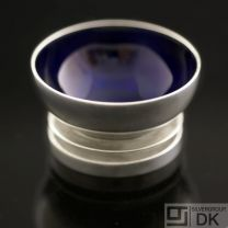 Georg Jensen Silver Salt Cellar with Dark Blue Enamel - Pyramid/ Pyramide #632 - VINTAGE