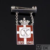 Georg Jensen Silver WWII Danish King Pin Badge - Arno Malinowski