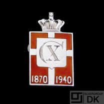 Georg Jensen Silver WWII Danish King Lapel Badge - Arno Malinowski