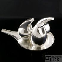 Georg Jensen Silver Salt & Pepper Shakers w/ Mustard Pot and Tray - #965