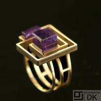Danish Gold Ring w/ Amethyst - Bent Knudsen - VINTAGE
