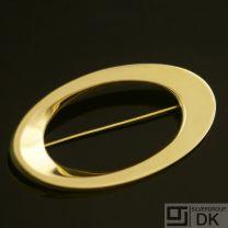 Hans Hansen. Danish Oval Gold Brooch - Bent Gabrielsen