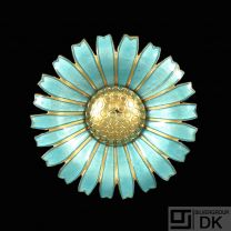 A. Michelsen. Gilded Silver Daisy Brooch / Pendant with light Blue Enamel. 50mm