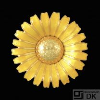 A. Michelsen. Gilded Silver Daisy Brooch / Pendant with Yellow Enamel. 50mm.