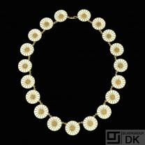 A. Michelsen. Gilded Silver Daisy Necklace with White Enamel. 18mm.