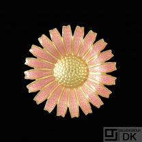 A. Michelsen. Gilded Sterling Silver Daisy Brooch with Rose Enamel. 43mm.