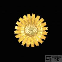 A. Michelsen. Gilded Sterling Silver Daisy Brooch with Yellow Enamel. 43mm
