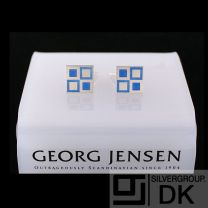 Georg Jensen Silver Cuff Links # 87 with Blue Enamel MOSAIC