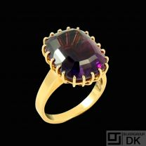 A.F. Rasmussen - Denmark. 14k Gold Ring with Amethyst - 1960s