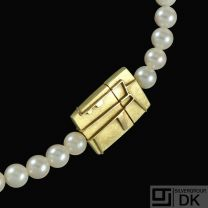 Nicolai Appel - Copenhagen. Pearl Bead Necklace with 18k Gold Clasp.