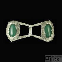 Mogens Ballin's Eftf. Art Nouveau Silver Belt Buckle with Green Agate.
