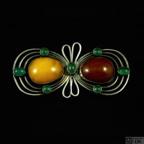 Otto Strange Friis. Silver Belt Buckle with Amber and green Agates. 1920s